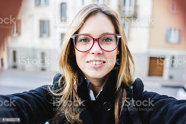 Young cute woman with eyeglasses take a selfie picture id616000278?b=1&k=6&m=616000278&s=612x612&h=  vkxpmsnb1vg1vvxbhx ffwtiwuiewlnxhldiemaxm=
