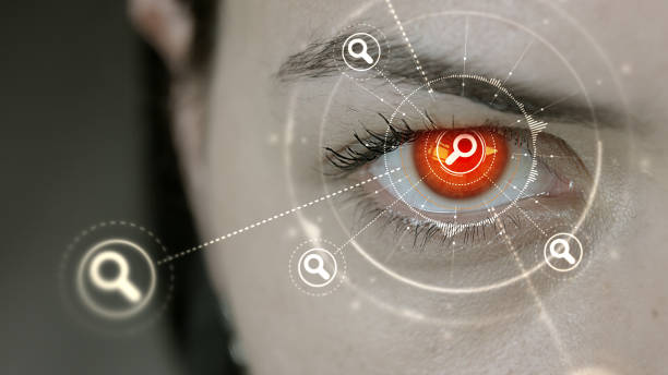 Young cyborg female blinks then search symbols appears. Young cyborg female blinks then search symbols appears. detective stock pictures, royalty-free photos & images