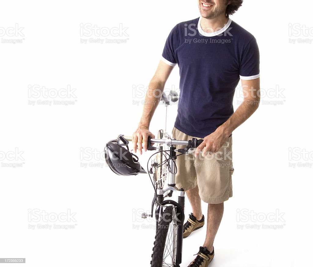 Young cyclist isolated on white royalty-free stock photo