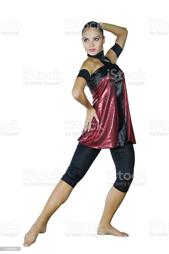 young dancer  dances in a red dress stock photo