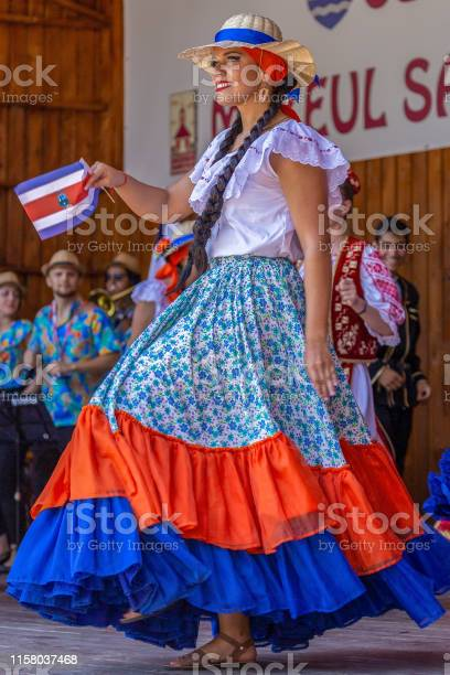 Young dancer from Costa Rica in traditional costume