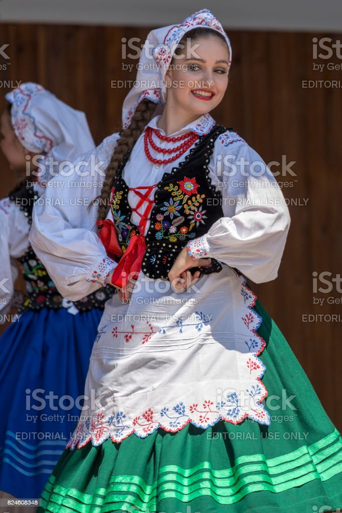 Young dancer girl from Poland in traditional costume stock photo