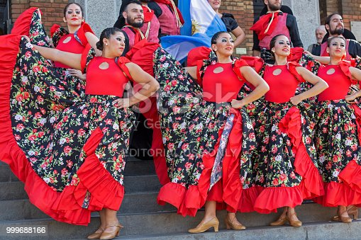 Timisoara: Young dancers from Argentina in traditional costume present at the international folk festival