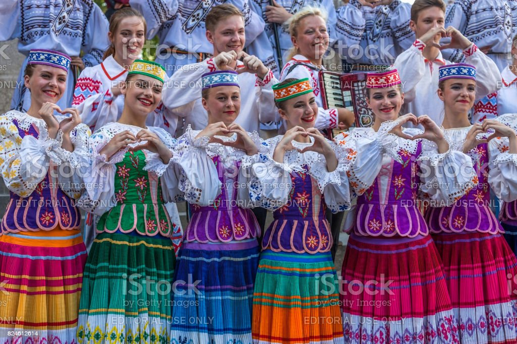 Young dancers from Belarus in traditional costume stock photo