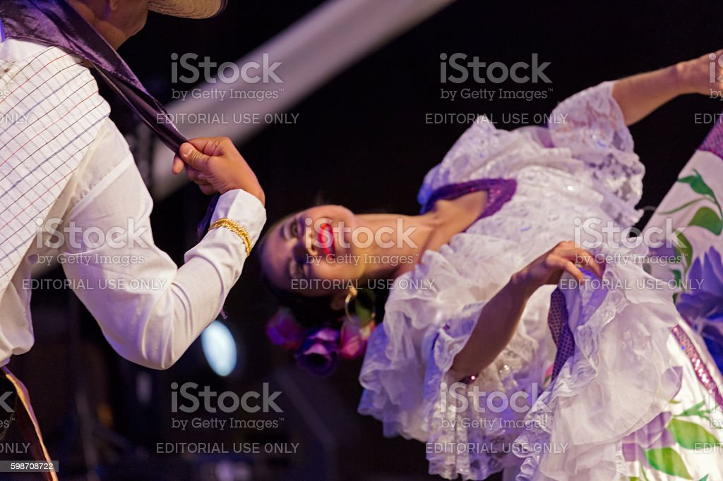 Young dancers from Colombia in traditional costume stock photo