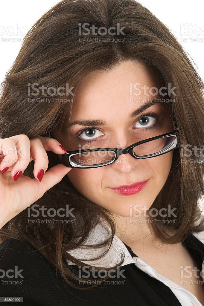 Young dark hair businesswoman with glasses royalty-free stock photo