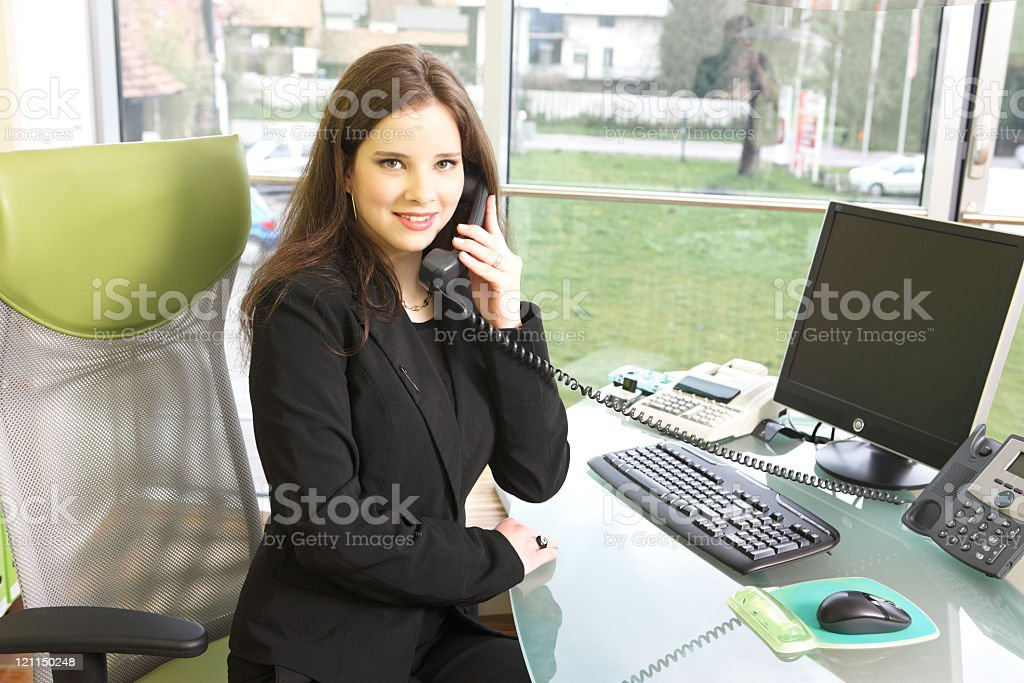 Young dark hair woman on the phone royalty-free stock photo