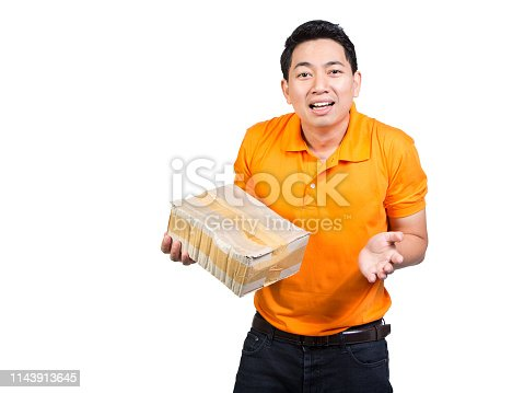 istock young delivery man fragile box damaged hand holding package broken wearing orange uniform shocked face isolated on white background 1143913645