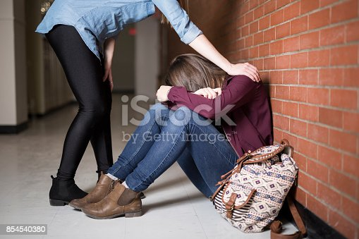 istock A Young depress female student at the college 854540380