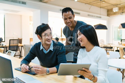 istock Young design team in an informal meeting 682482438
