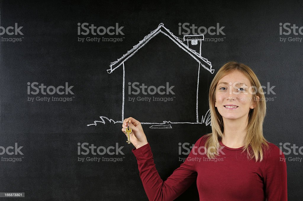 Young Designer and Sketched House royalty-free stock photo