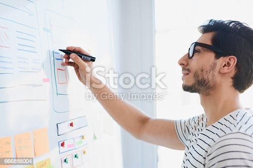 istock Young designer developing website responsive layout 666888004