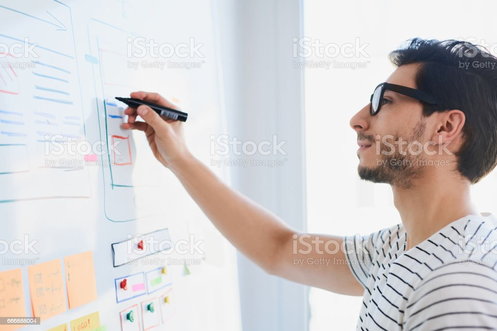 Young designer developing website responsive layout stock photo
