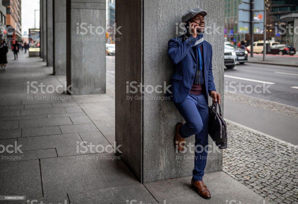 Successful African-american businessman enjoying his time in Berlin
