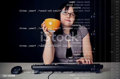 young woman with glasses sitting in front of a computer, programming. the code she is working on (css) can be seen through the screen. (note: all code is originally written by myself)  view more similar images: [url=search/portfolio/248175/?facets={%2235%22:%5B%22job%22,%22ORwork%22,%22ORmessenger%22%5D,%229%22:0,%2230%22:%22100%22}][img]http://www.photonullplus.de/misc/istock/istock-thumb-jobs.jpg[/img][/url] [url=search/portfolio/248175/?facets={%2235%22:%5B%22technology%22,%22ORcomputer%22,%22ORcamera%22,%22ORinternet%22%5D,%229%22:0,%2230%22:%22100%22}][img]http://www.photonullplus.de/misc/istock/istock-thumb-tech.jpg[/img][/url]  [url=file_closeup.php?id=18279006][img]file_thumbview_approve.php?size=1&id=18279006[/img][/url] [url=file_closeup.php?id=16464218][img]file_thumbview_approve.php?size=1&id=16464218[/img][/url] [url=file_closeup.php?id=16464182][img]file_thumbview_approve.php?size=1&id=16464182[/img][/url] [url=file_closeup.php?id=16464170][img]file_thumbview_approve.php?size=1&id=16464170[/img][/url] [url=file_closeup.php?id=15406012][img]file_thumbview_approve.php?size=1&id=15406012[/img][/url] [url=file_closeup.php?id=13471180][img]file_thumbview_approve.php?size=1&id=13471180[/img][/url] [url=file_closeup.php?id=13461961][img]file_thumbview_approve.php?size=1&id=13461961[/img][/url] [url=file_closeup.php?id=13461884][img]file_thumbview_approve.php?size=1&id=13461884[/img][/url] [url=file_closeup.php?id=13461805][img]file_thumbview_approve.php?size=1&id=13461805[/img][/url] [url=file_closeup.php?id=13461787][img]file_thumbview_approve.php?size=1&id=13461787[/img][/url] [url=file_closeup.php?id=16508477][img]file_thumbview_approve.php?size=1&id=16508477[/img][/url] [url=file_closeup.php?id=16508469][img]file_thumbview_approve.php?size=1&id=16508469[/img][/url] [url=file_closeup.php?id=16863859][img]file_thumbview_approve.php?size=1&id=16863859[/img][/url]