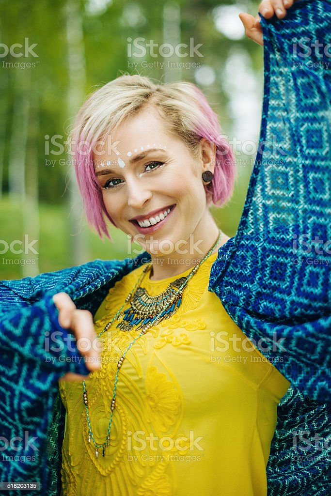 Young diffrent and beautiful woman stock photo