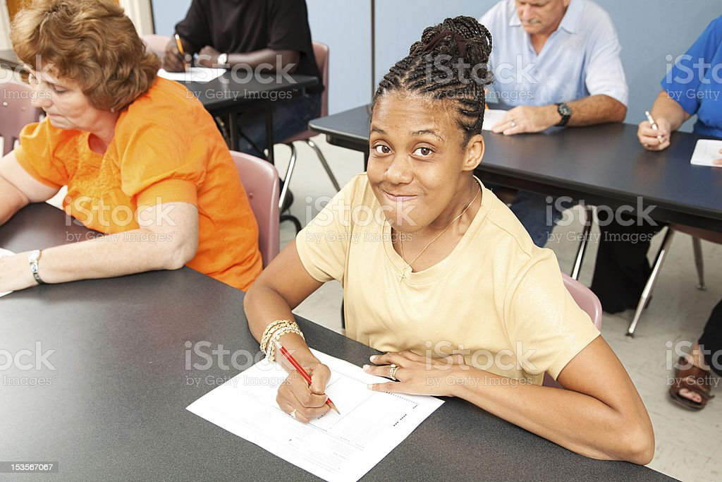 Young Disabled Woman in College stock photo