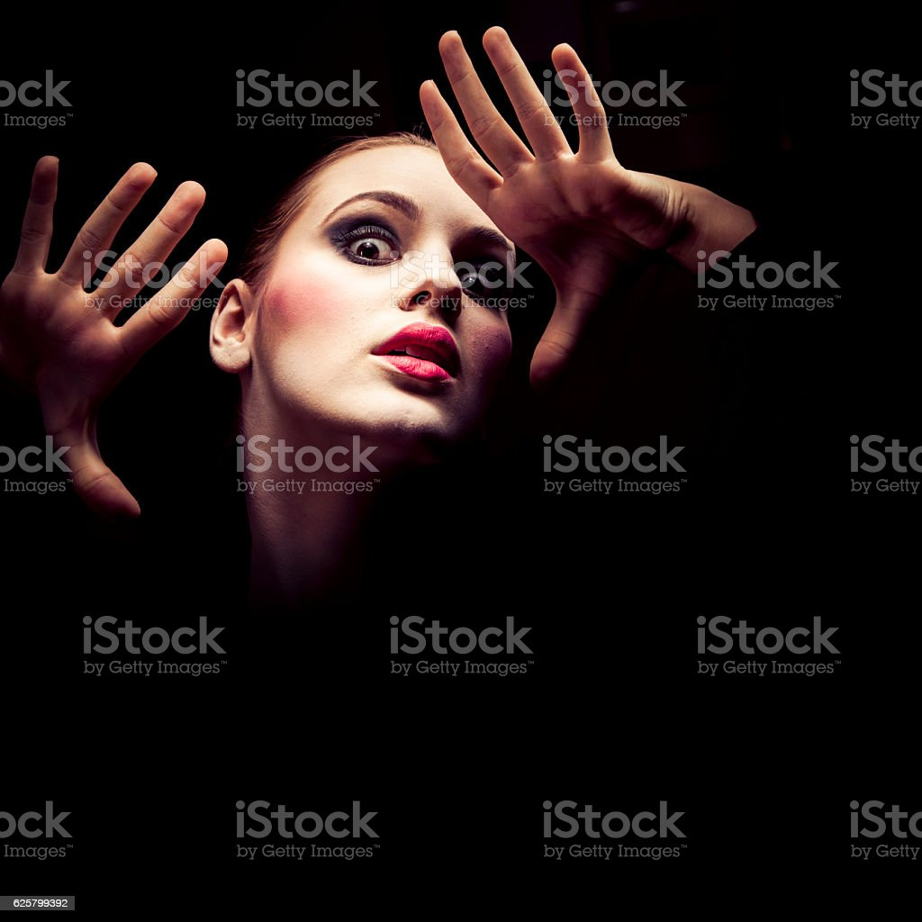 Young discouraged woman stock photo