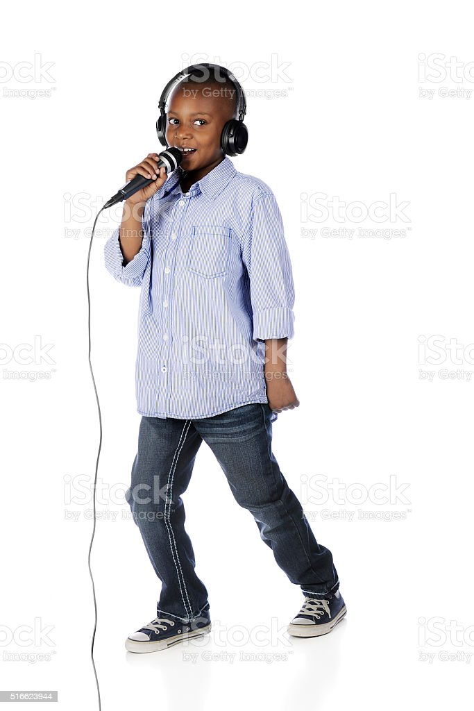 Young DJ Announcing stock photo