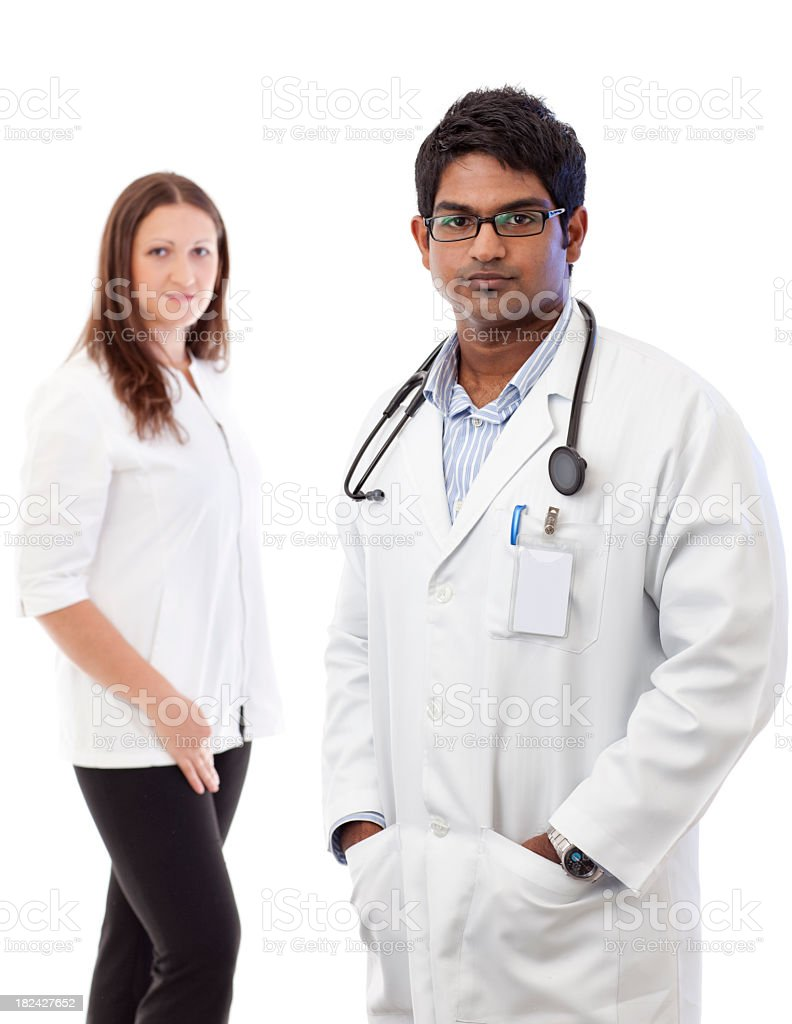 Young doctor on white royalty-free stock photo