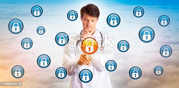 488497362istockphoto Young Doctor Unlocking Data File In Cyberspace 1165514113