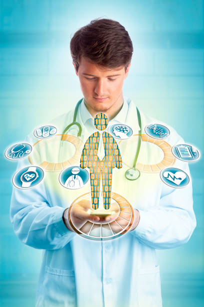 Young Doctor Using Smartphone For Diagnostics stock photo