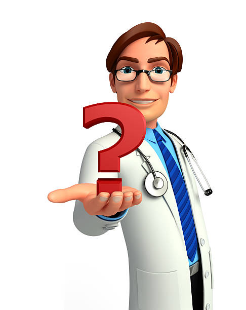 young doctor with question mark - question mark asking doctor nurse stock photos and pictures