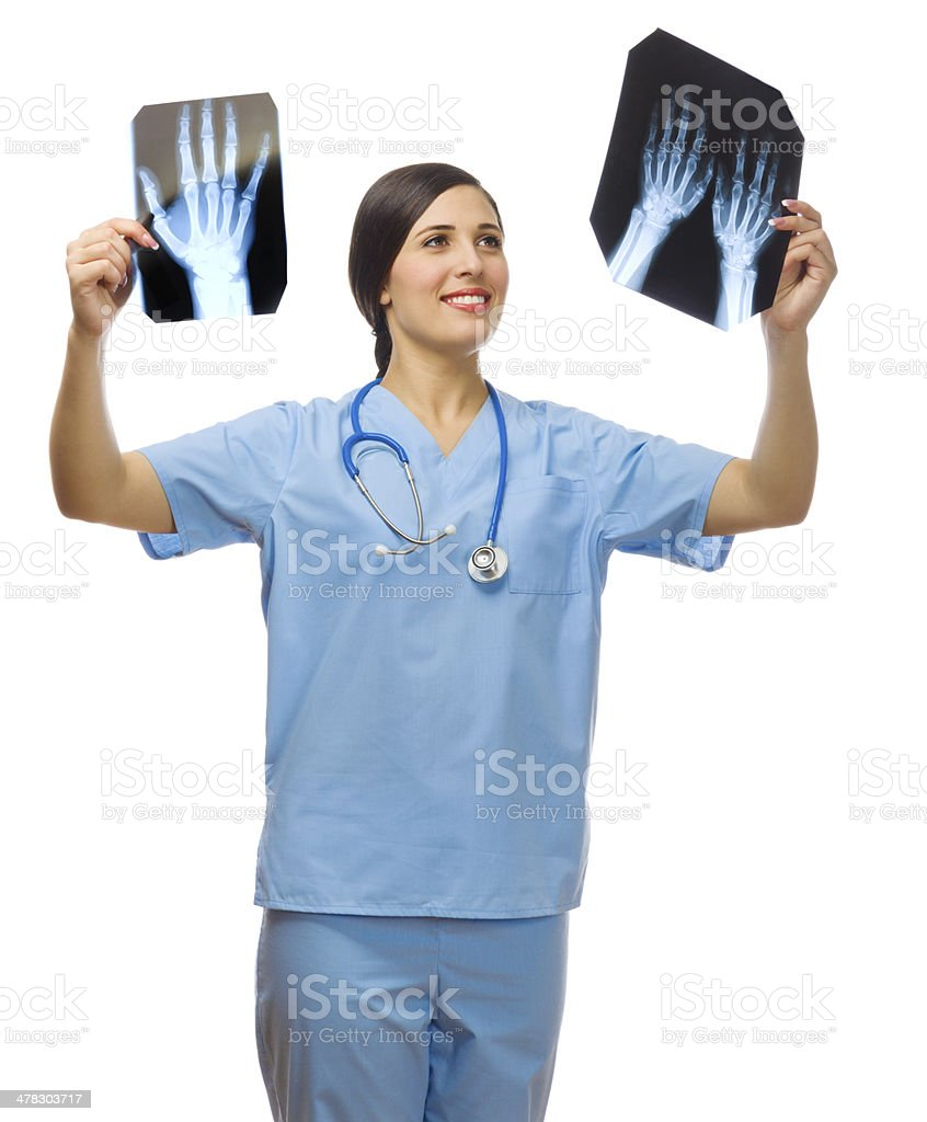 Young doctor with x-rays royalty-free stock photo