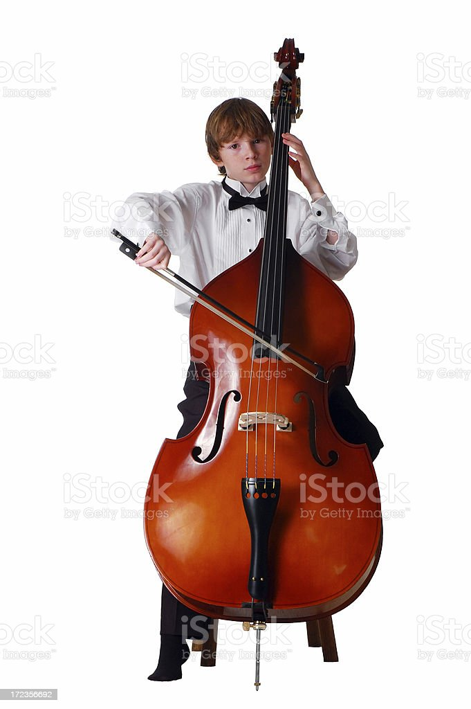 Young Double Bass Player in Tuxedo stock photo