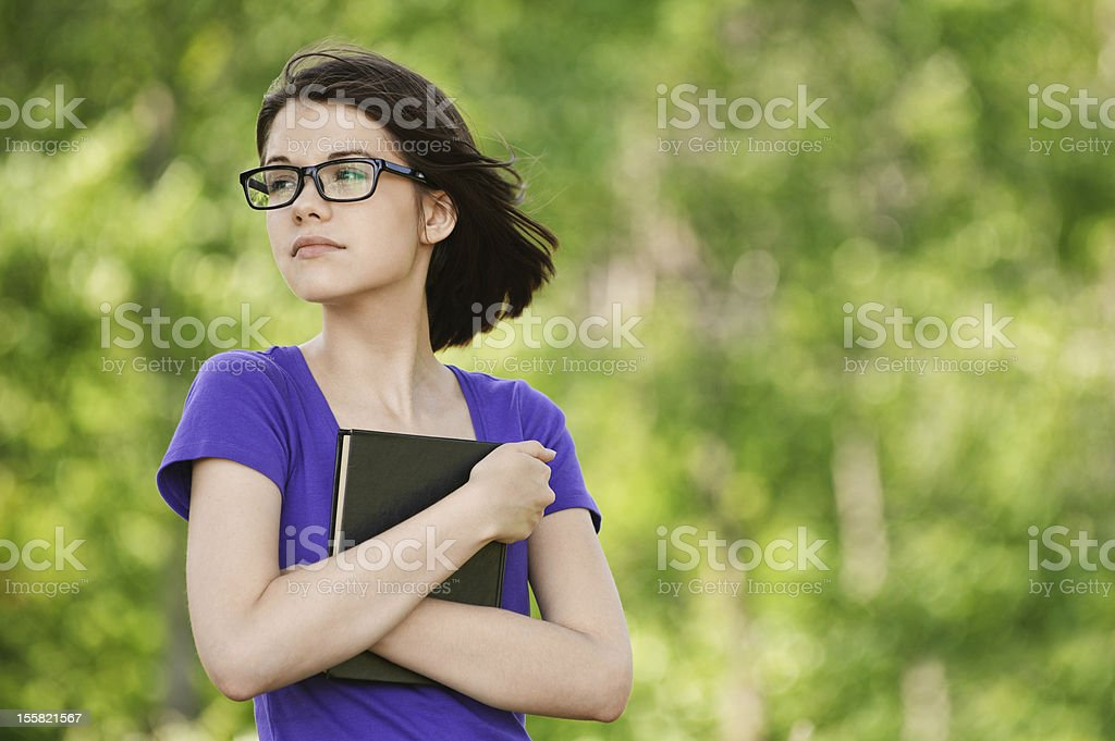 young dreamy woman looking somewhere royalty-free stock photo