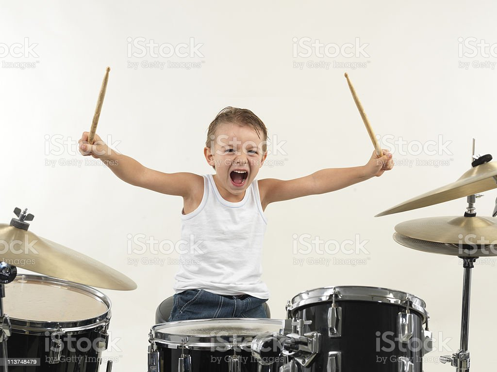 young drummer boy stock photo