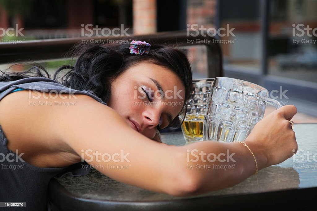 Young Drunk Lady after Party royalty-free stock photo