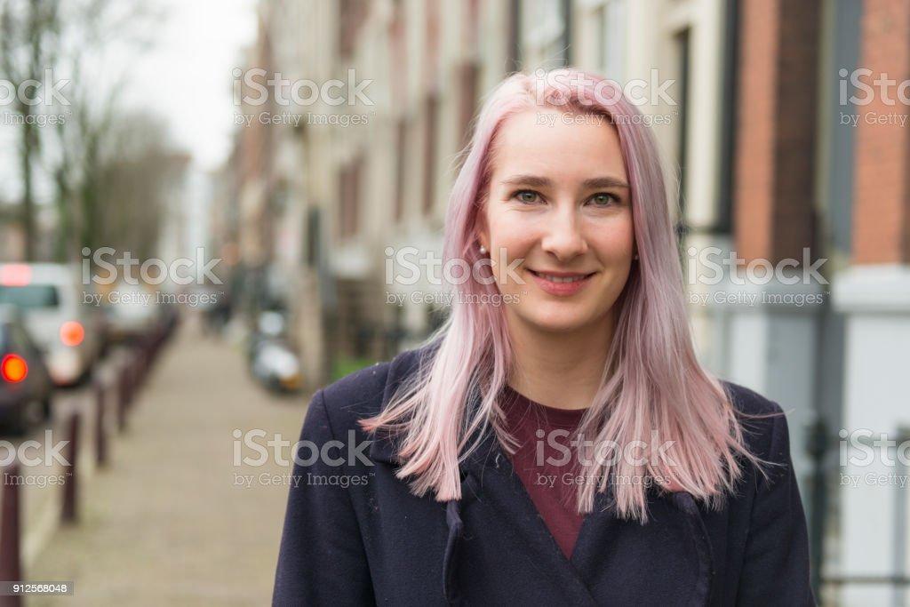 Young Dutch woman portrait stock photo