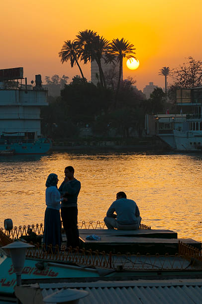 Best Palm Tree Sunset Africa Nile River Stock Photos, Pictures