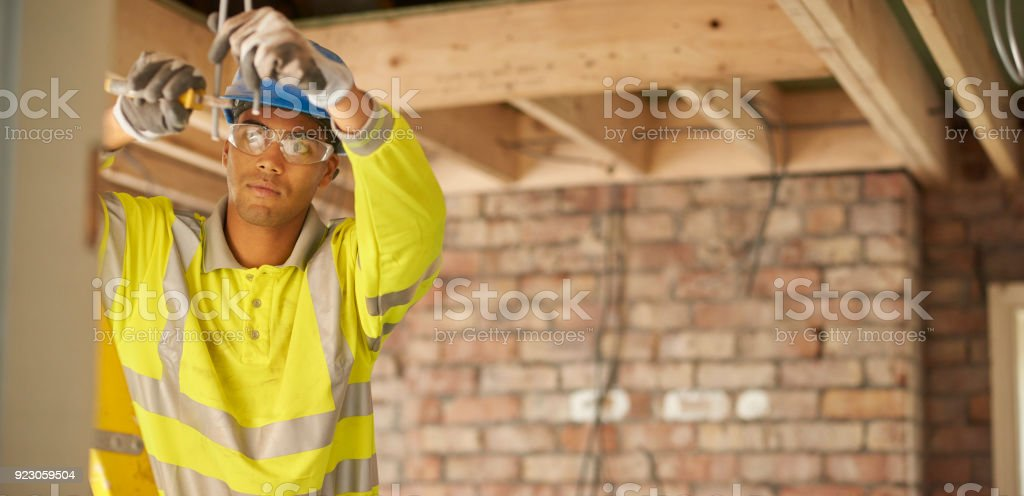 young electrical trainee stock photo