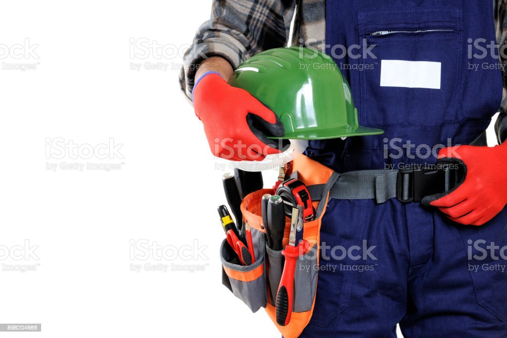 Young electrician technician in workwear isolated on white background. stock photo