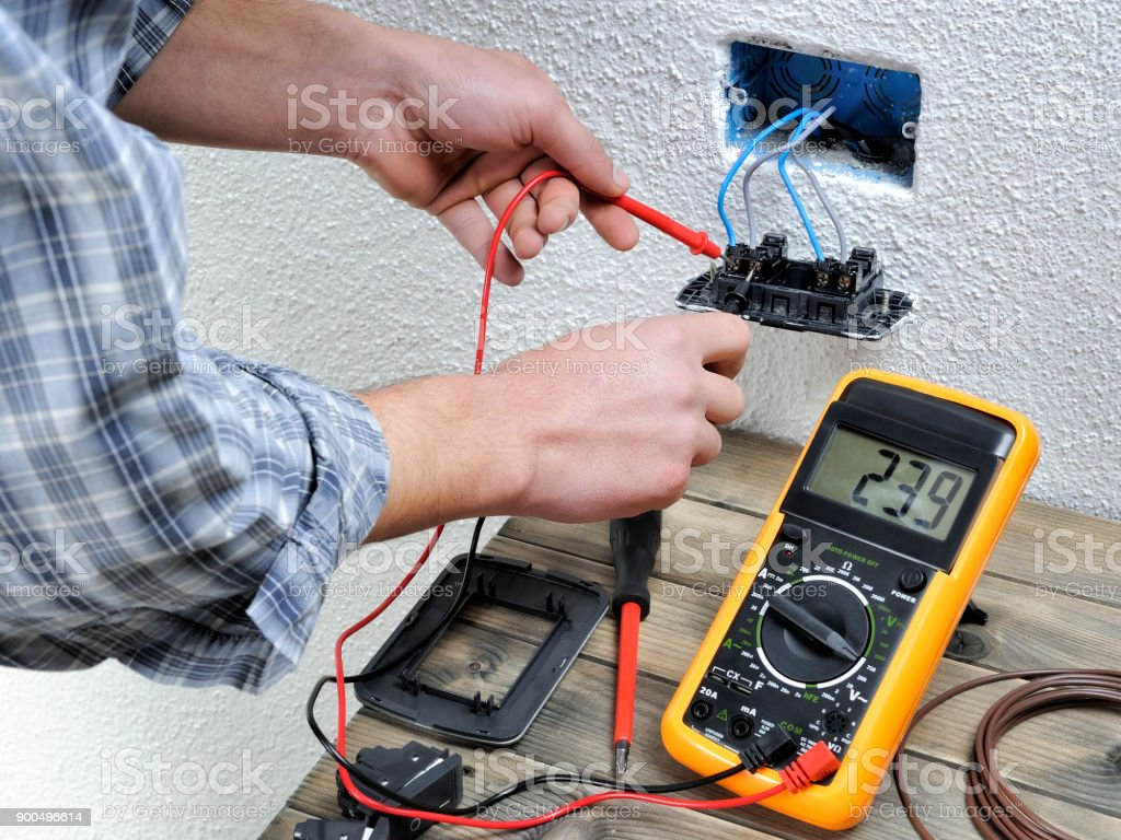 Young Electrician Working In A Residential Electrical Installation Wiring Royalty Free Stock Photo