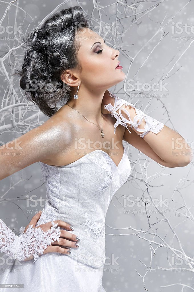 Young elegant bride dreaming on winter background royalty-free stock photo
