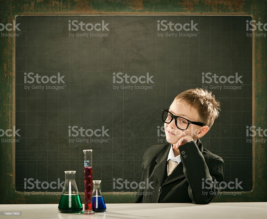 young elegant clever chemistry student or scientist copyspace ha royalty-free stock photo