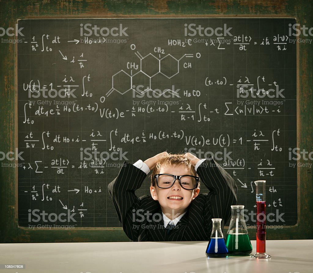 young elegant clever chemistry student or scientist with difficu royalty-free stock photo