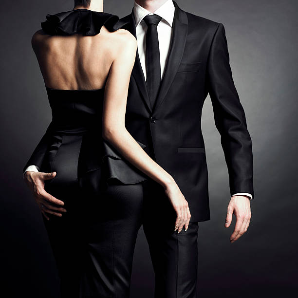 young elegant couple - glamour stock photos and pictures
