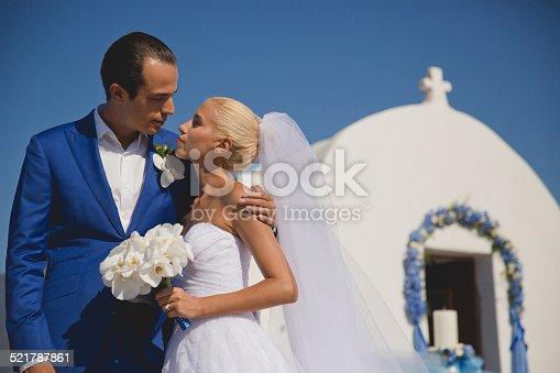 674214372istockphoto Young elegant wedding couple 521787861