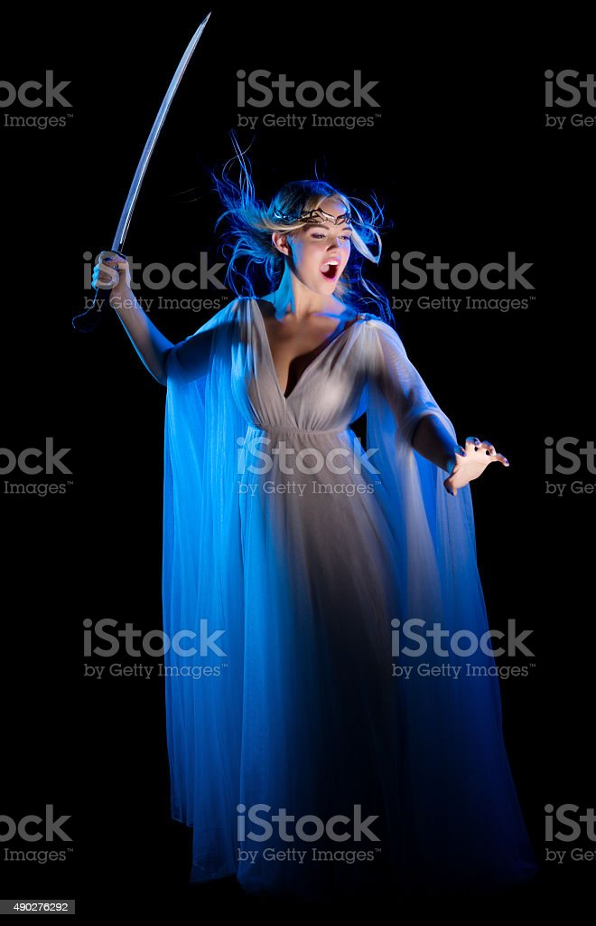 Young elven girl with sword stock photo