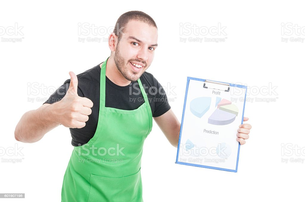 Young employee showing like holding profit and predictions clipb stock photo
