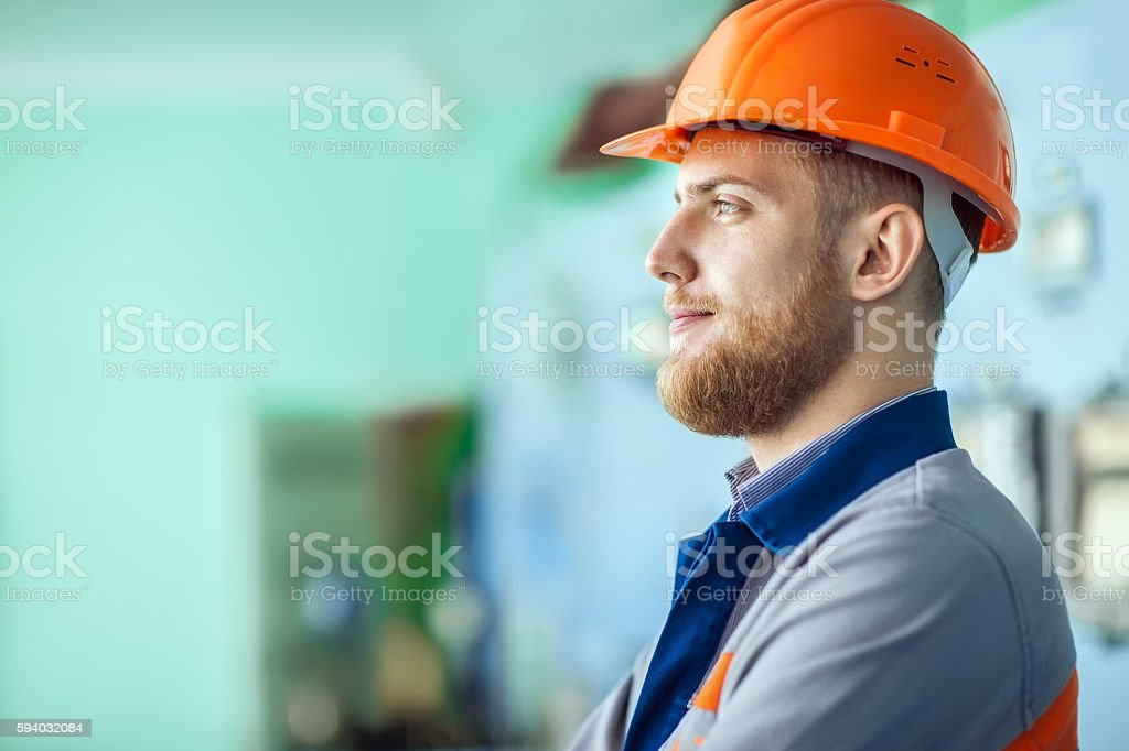young engineer at workplace in factory – Foto