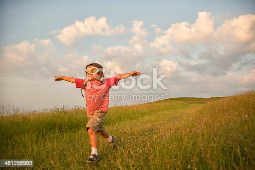 istock Young English Boy Imagines Flying on Hill 481258993