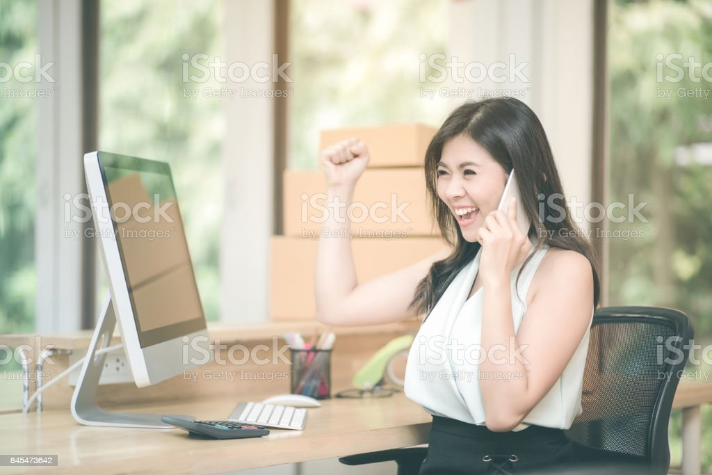 Young entrepreneur happy and celebration for achievement success mission while talking to her marketing team at home office. stock photo