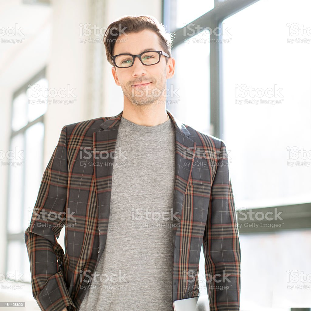 Young entrepreneur or architect at work stock photo