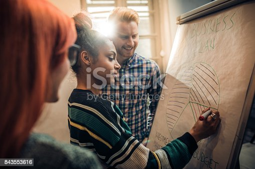istock Young entrepreneurs writing a business chart on a whiteboard in the office. 843553616