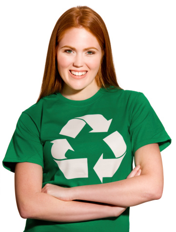 Young attractive woman wearing a recycling logo t-shirt.Please Also See: